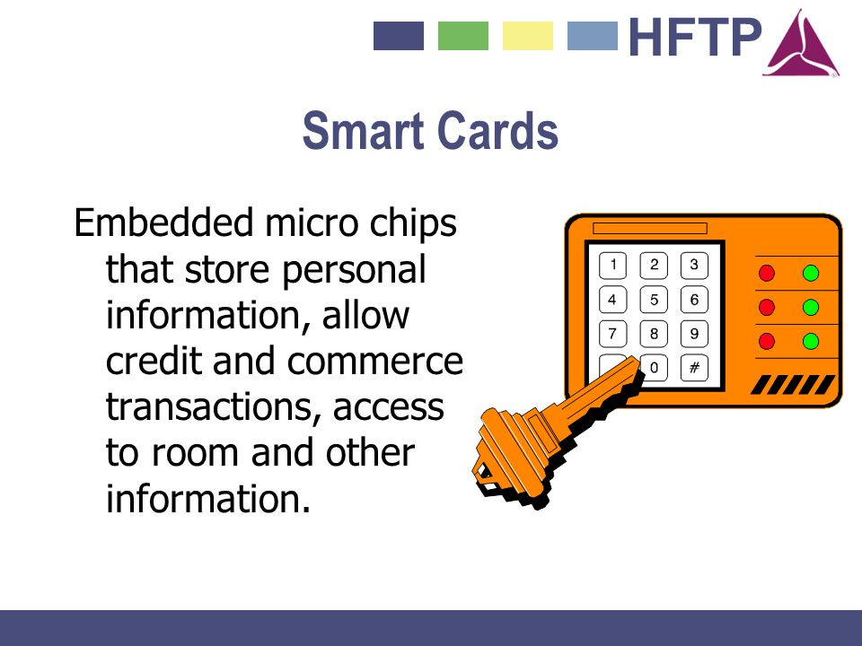 Smart Cards Embedded micro chips that store personal information, allow credit and commerce transactions, access to room and other information.