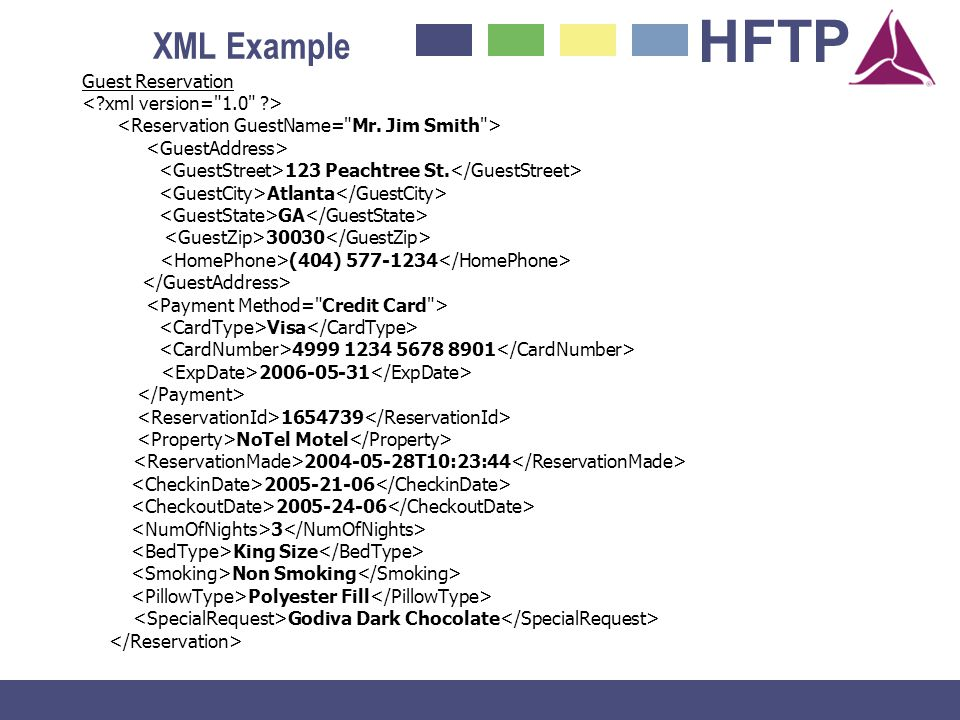 XML Example Guest Reservation < xml version= 1.0 >