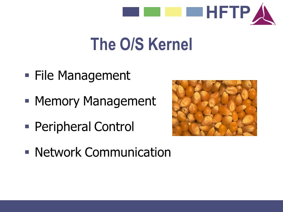 The O/S Kernel File Management Memory Management Peripheral Control