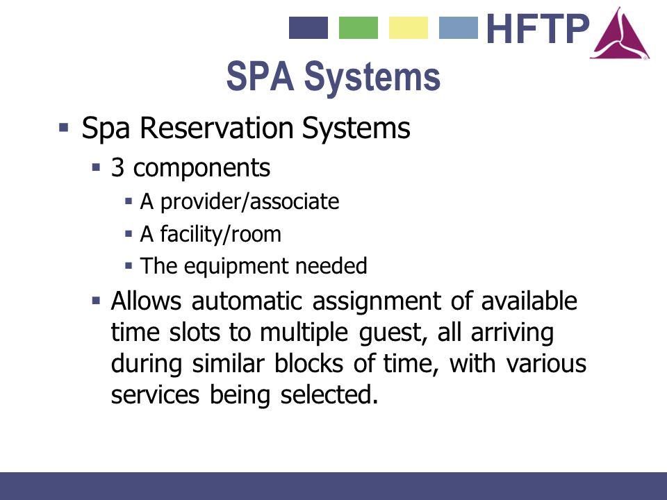 SPA Systems Spa Reservation Systems 3 components