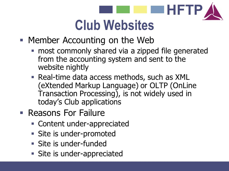 Club Websites Member Accounting on the Web Reasons For Failure