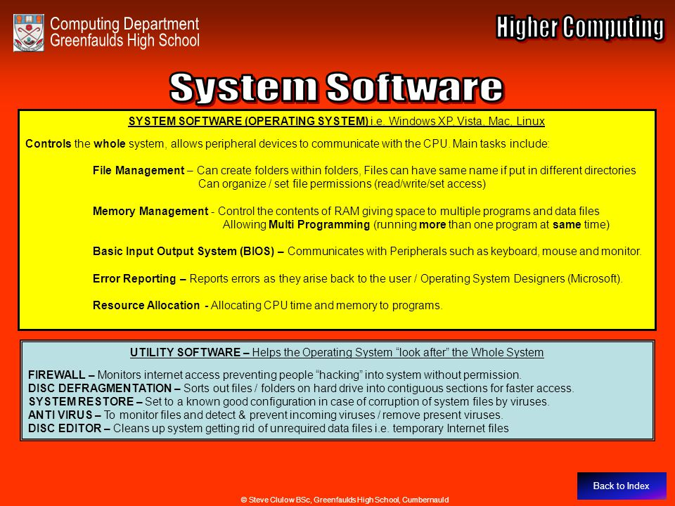 System Software Computing Department Higher Computing