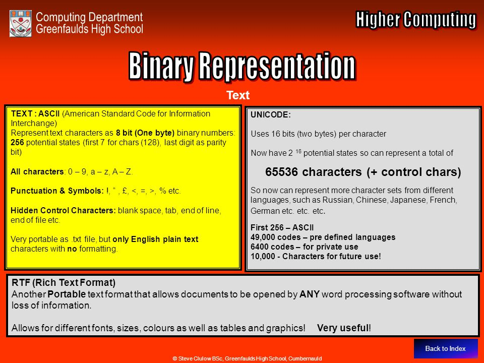 Binary Representation - Text