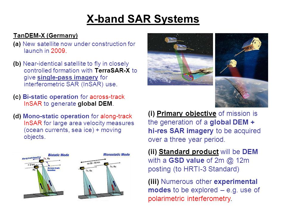 X-band SAR Systems TanDEM-X (Germany) (a) New satellite now under construction for launch in 2009.
