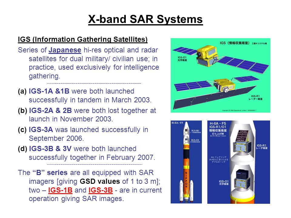 X-band SAR Systems IGS (Information Gathering Satellites)