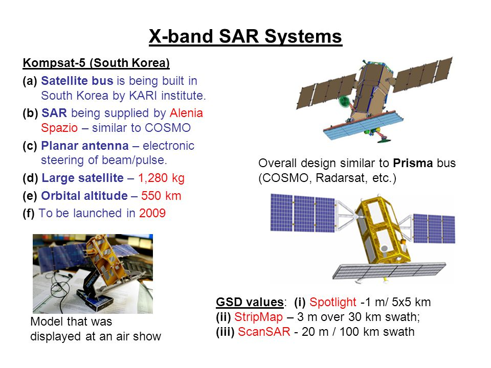 X-band SAR Systems Kompsat-5 (South Korea)