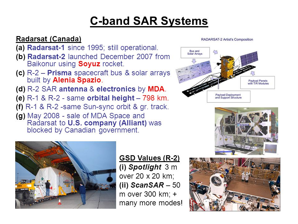 C-band SAR Systems Radarsat (Canada)