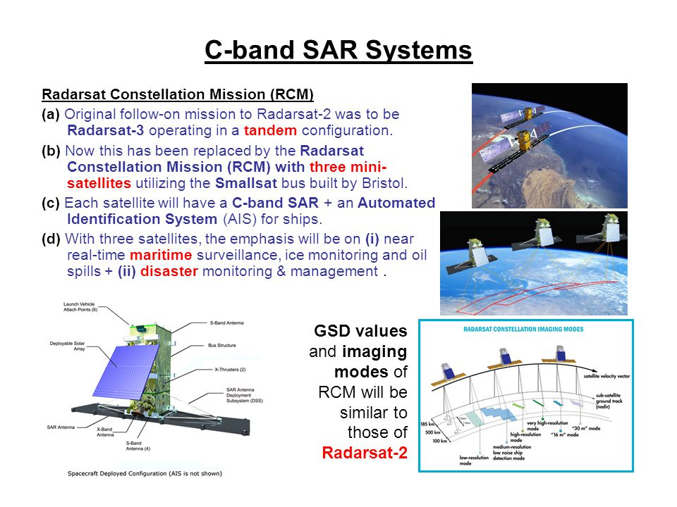 C-band SAR Systems Radarsat Constellation Mission (RCM)