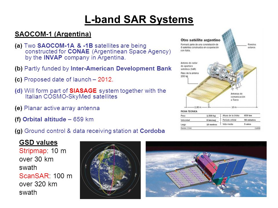 L-band SAR Systems SAOCOM-1 (Argentina) GSD values