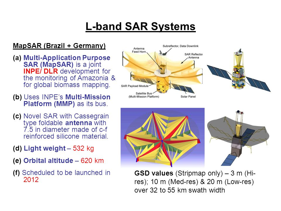 L-band SAR Systems MapSAR (Brazil + Germany)