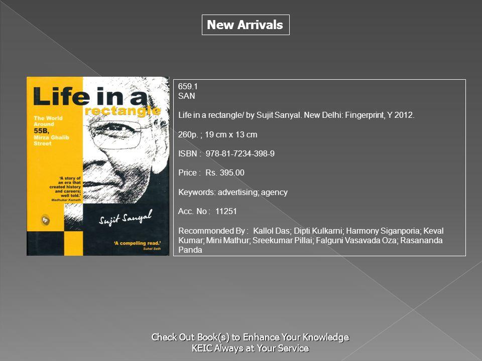 659.1 SAN. Life in a rectangle/ by Sujit Sanyal. New Delhi: Fingerprint, Y 2012. 260p. ; 19 cm x 13 cm.