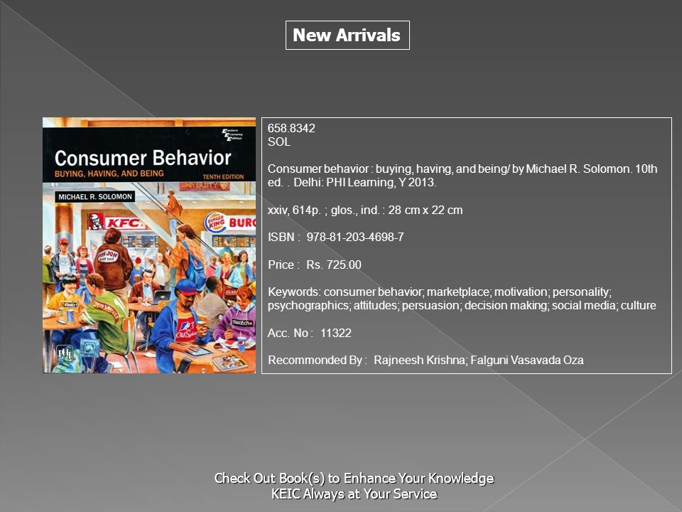 S 658.8342. SOL. Consumer behavior : buying, having, and being/ by Michael R. Solomon. 10th ed. . Delhi: PHI Learning, Y 2013.