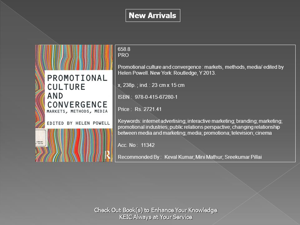 S 658.8. PRO. Promotional culture and convergence : markets, methods, media/ edited by Helen Powell. New York: Routledge, Y 2013.