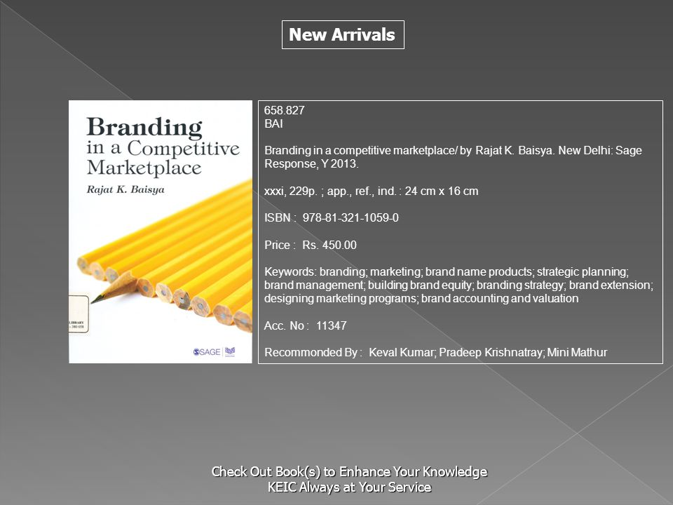 S 658.827. BAI. Branding in a competitive marketplace/ by Rajat K. Baisya. New Delhi: Sage Response, Y 2013.