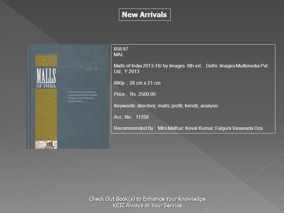 658.87 MAL. Malls of India 2013-16/ by Images. 6th ed. . Delhi: Images Multimedia Pvt. Ltd., Y 2013.