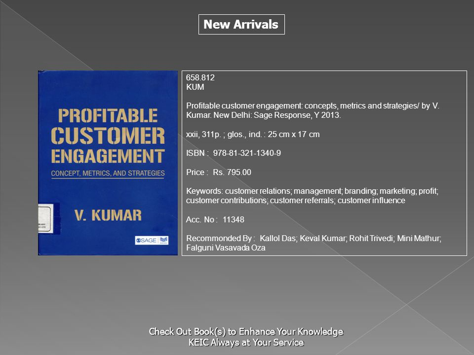 S 658.812. KUM. Profitable customer engagement: concepts, metrics and strategies/ by V. Kumar. New Delhi: Sage Response, Y 2013.