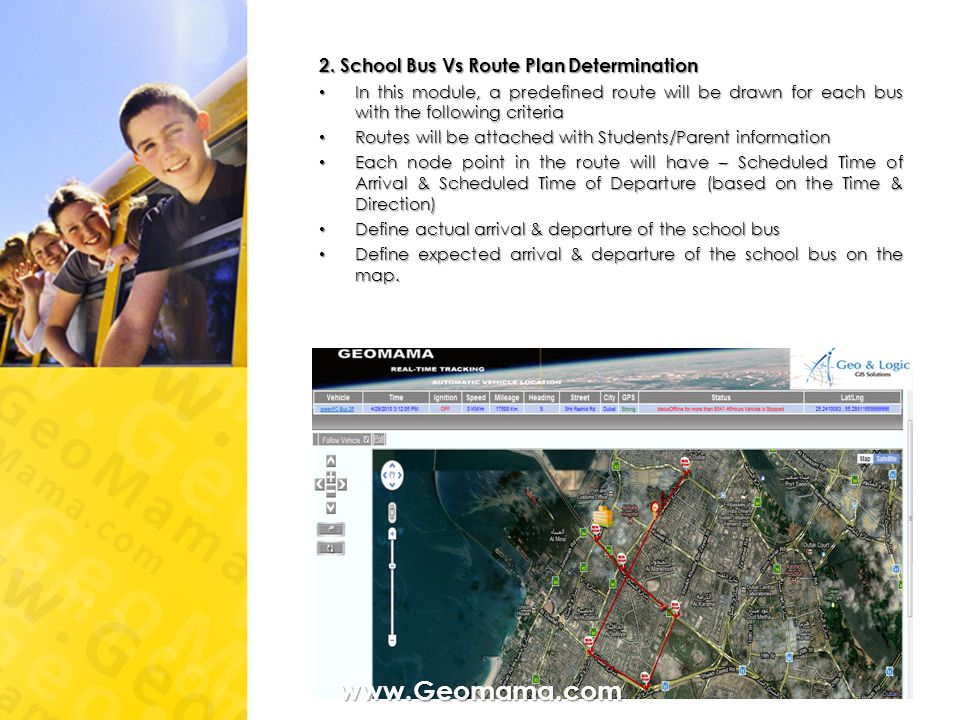 www.Geomama.com 2. School Bus Vs Route Plan Determination