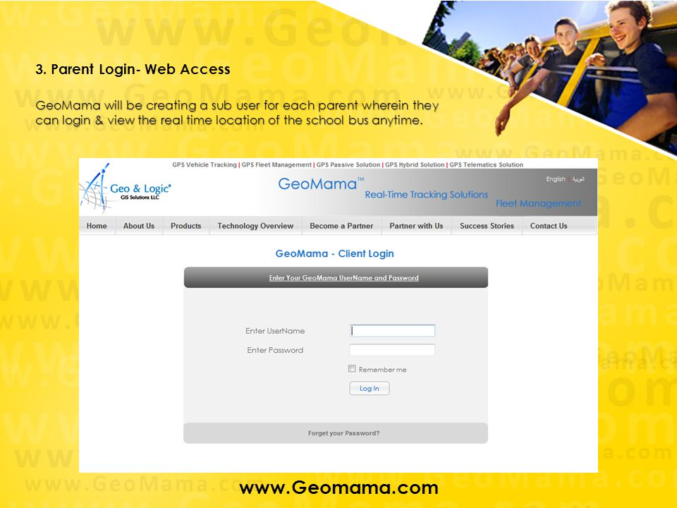 www.Geomama.com 3. Parent Login- Web Access