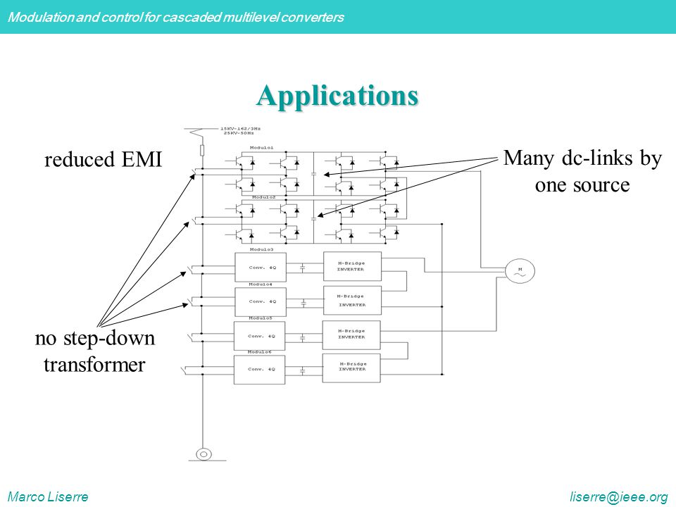 Applications reduced EMI Many dc-links by one source