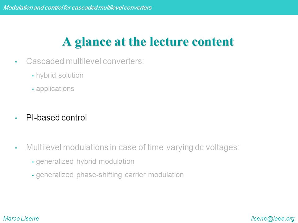 A glance at the lecture content