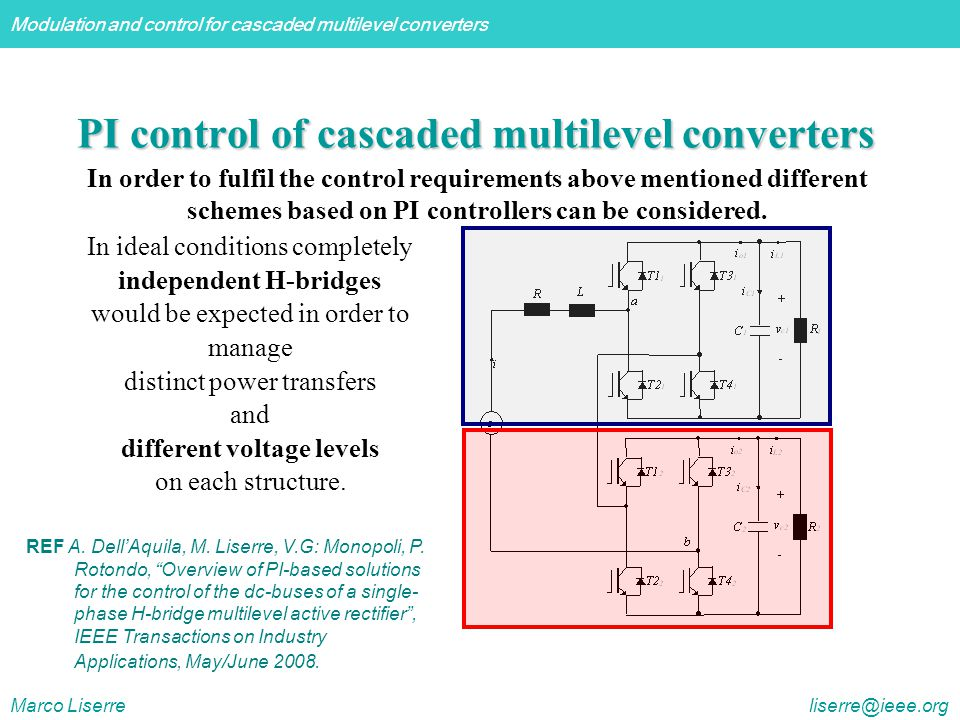 PI control of cascaded multilevel converters
