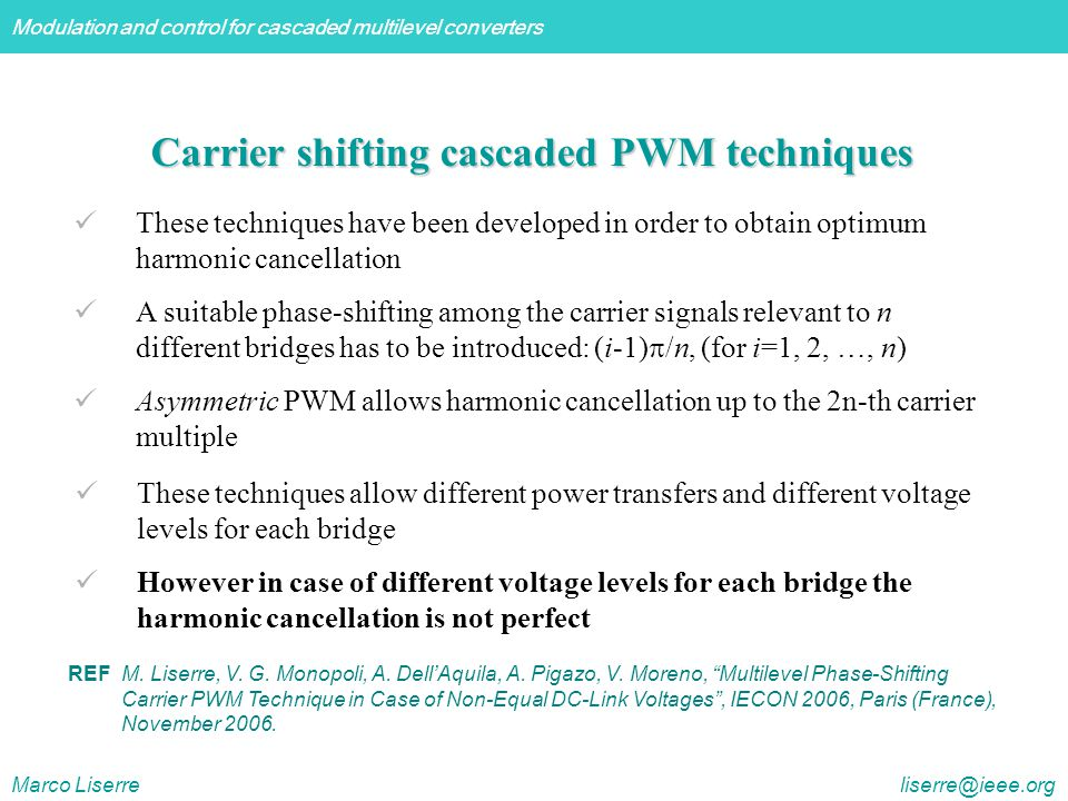Carrier shifting cascaded PWM techniques