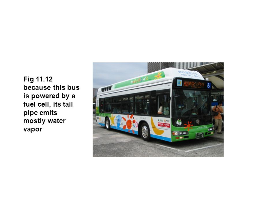 Fig 11.12 because this bus is powered by a fuel cell, its tail pipe emits mostly water vapor
