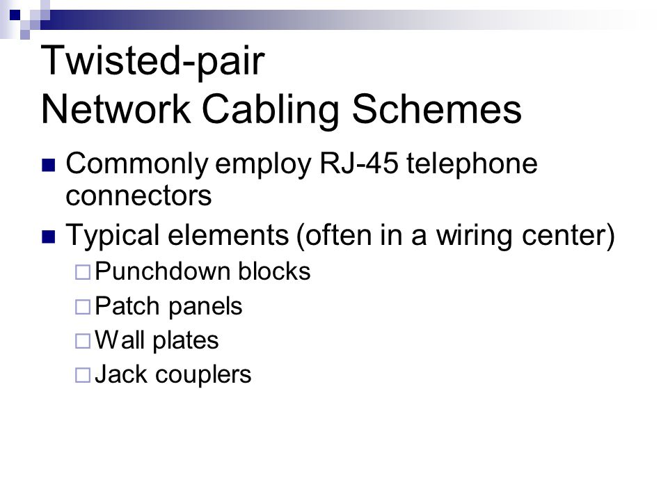 Twisted-pair Network Cabling Schemes
