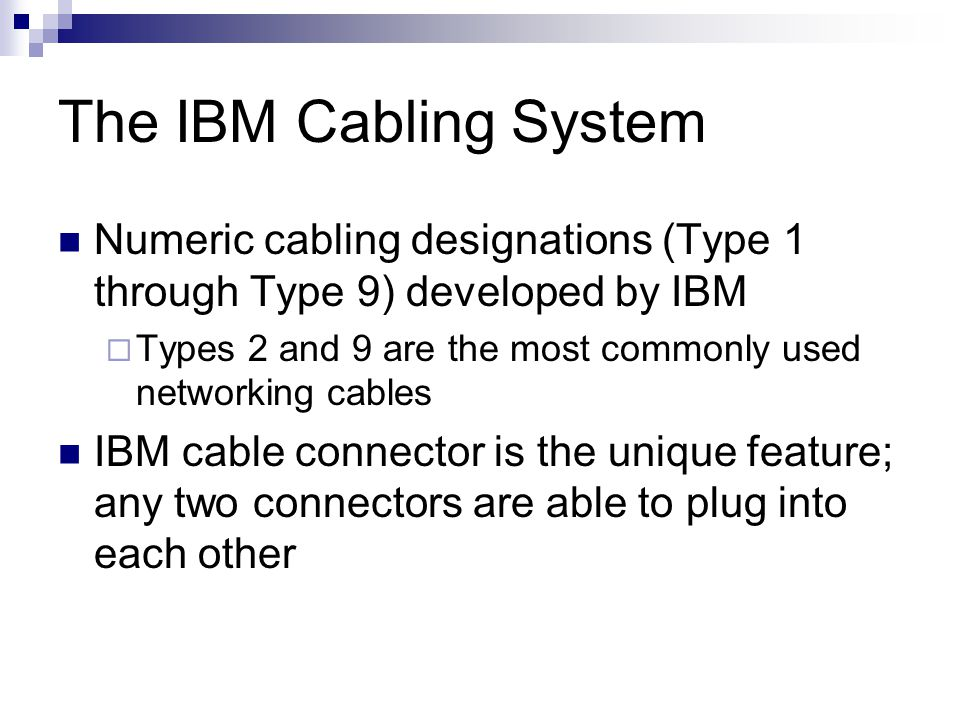 The IBM Cabling System Numeric cabling designations (Type 1 through Type 9) developed by IBM.