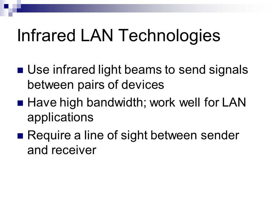Infrared LAN Technologies