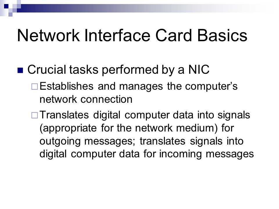 Network Interface Card Basics