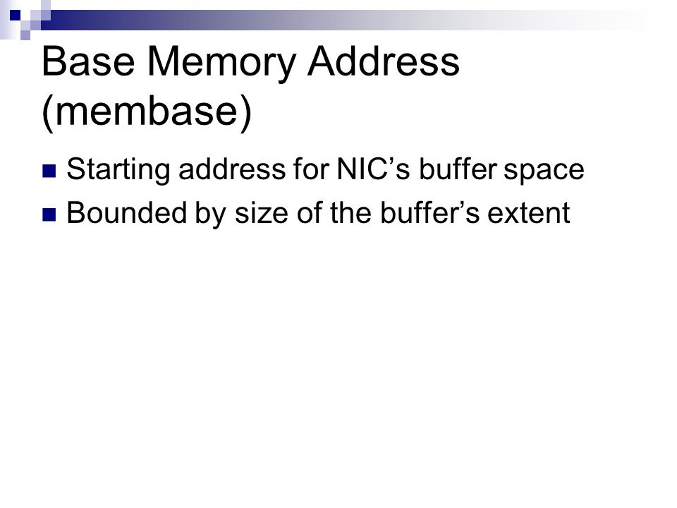 Base Memory Address (membase)