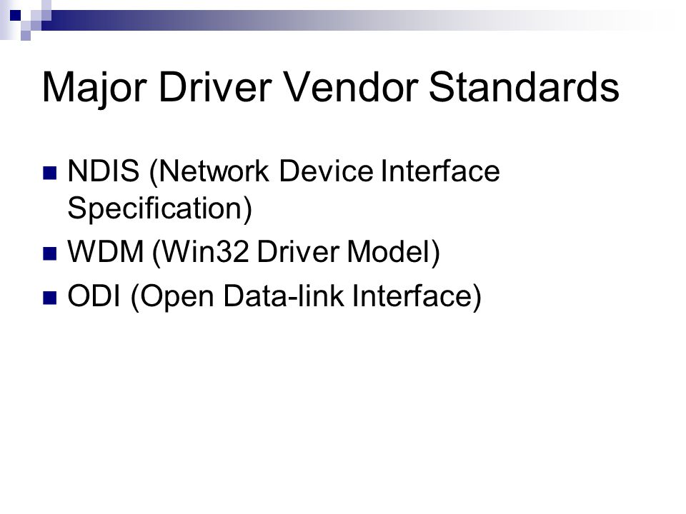Major Driver Vendor Standards