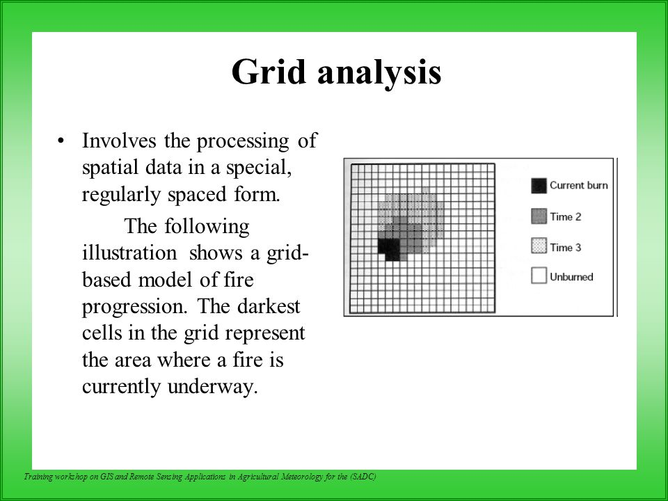 Grid analysis Involves the processing of spatial data in a special, regularly spaced form.