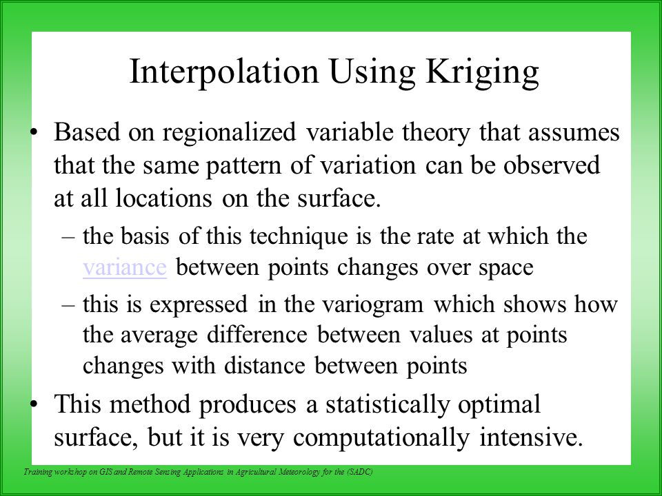 Interpolation Using Kriging