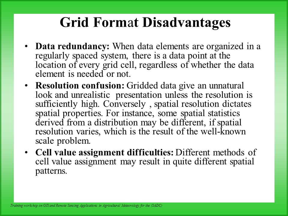 Grid Format Disadvantages