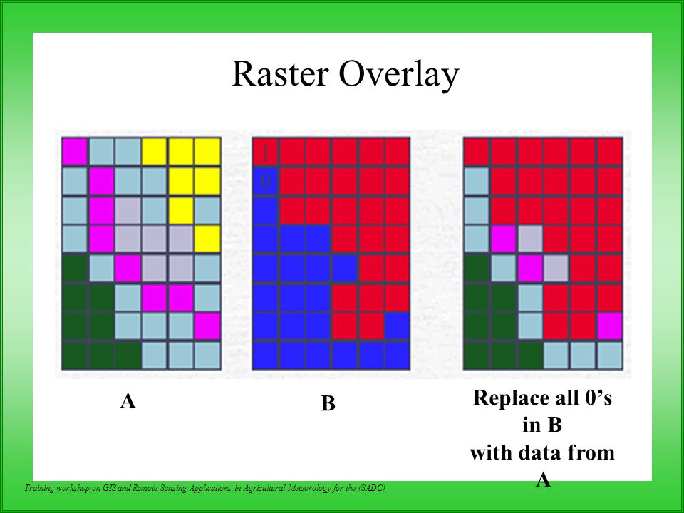Raster Overlay Replace all 0's in B A B with data from A
