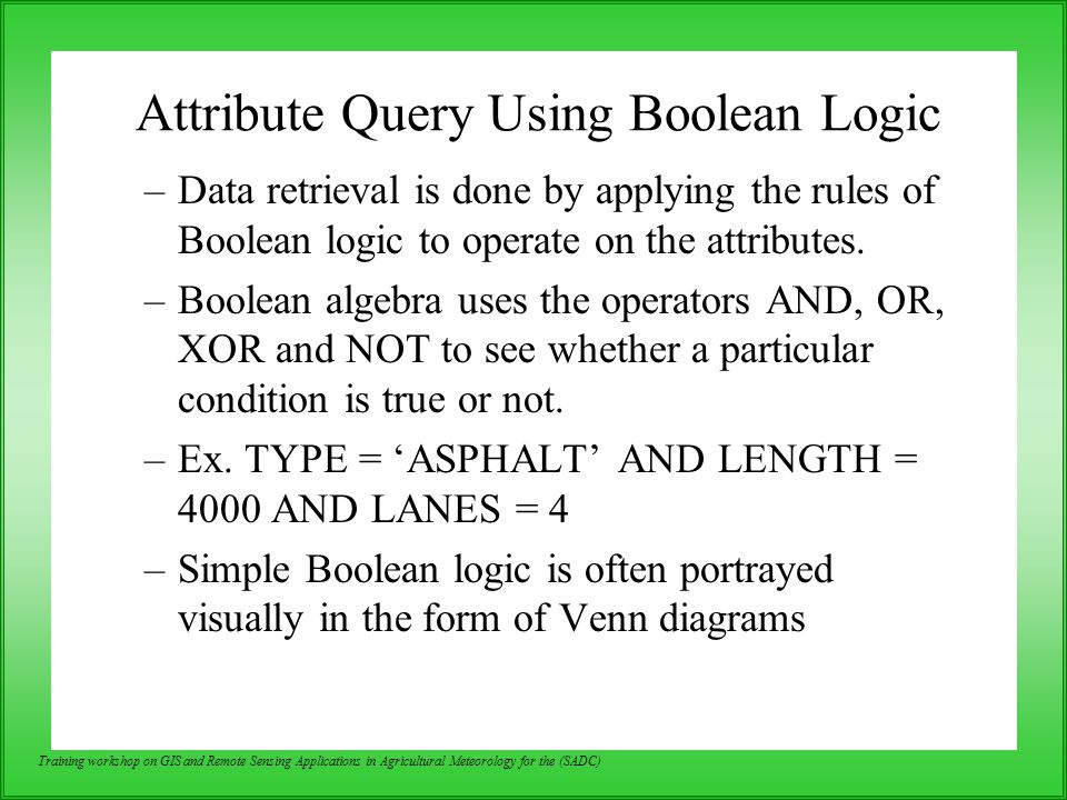 Attribute Query Using Boolean Logic