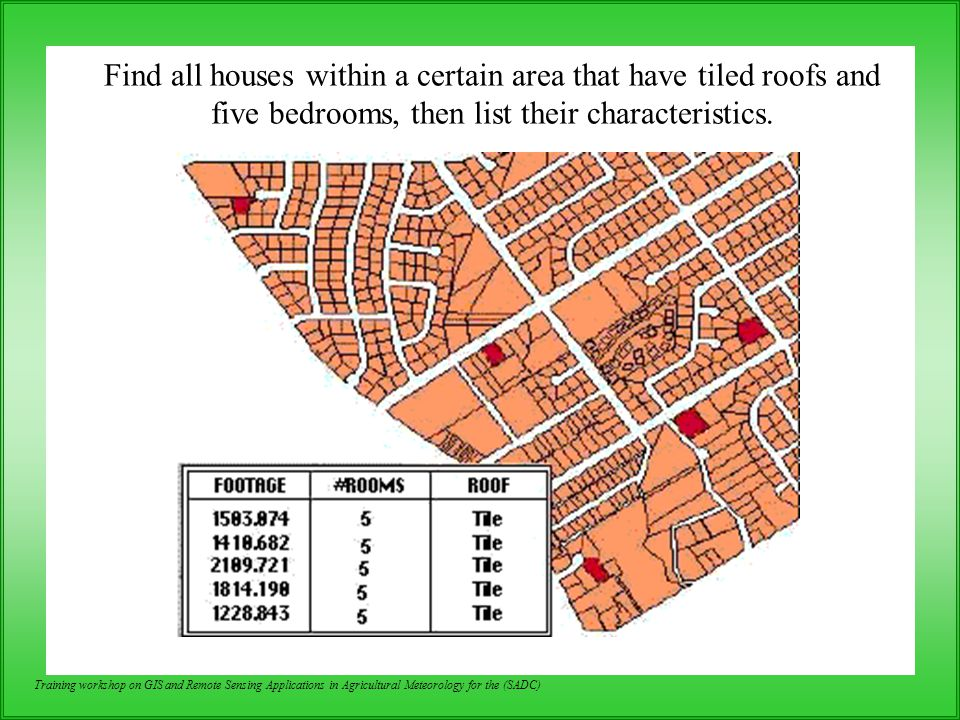 Find all houses within a certain area that have tiled roofs and five bedrooms, then list their characteristics.