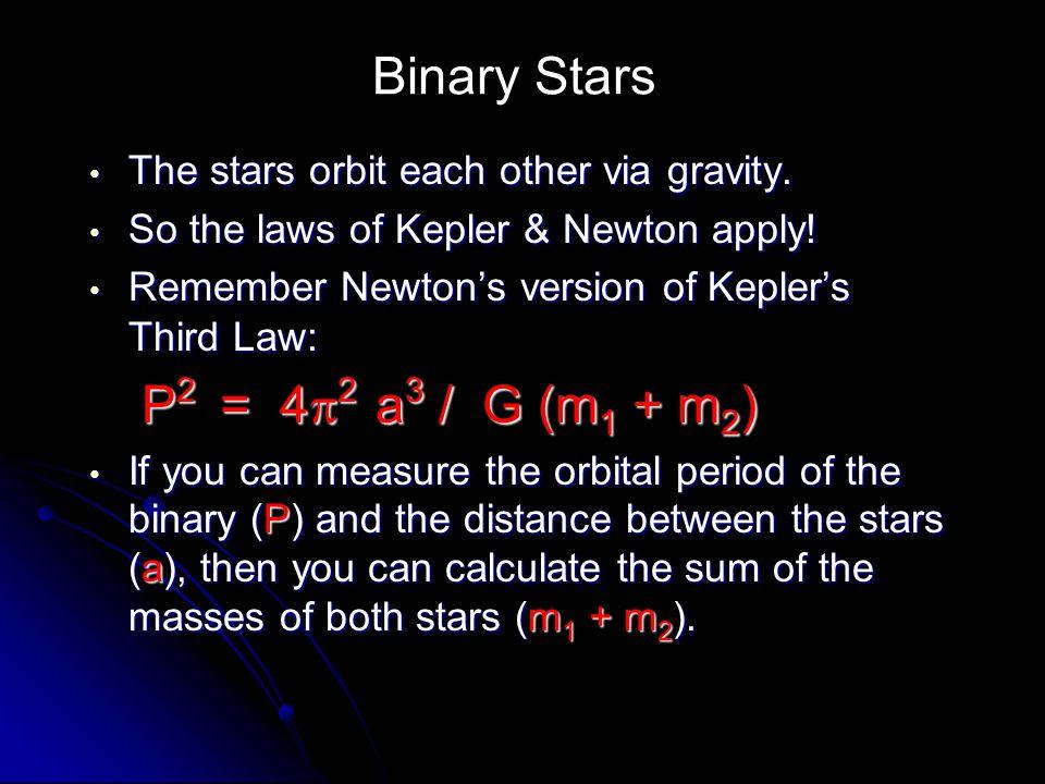 Binary Stars P2 = 42 a3 / G (m1 + m2)