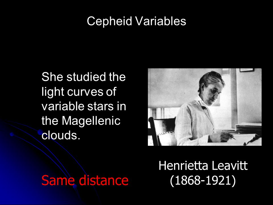 Same distance Cepheid Variables She studied the light curves of
