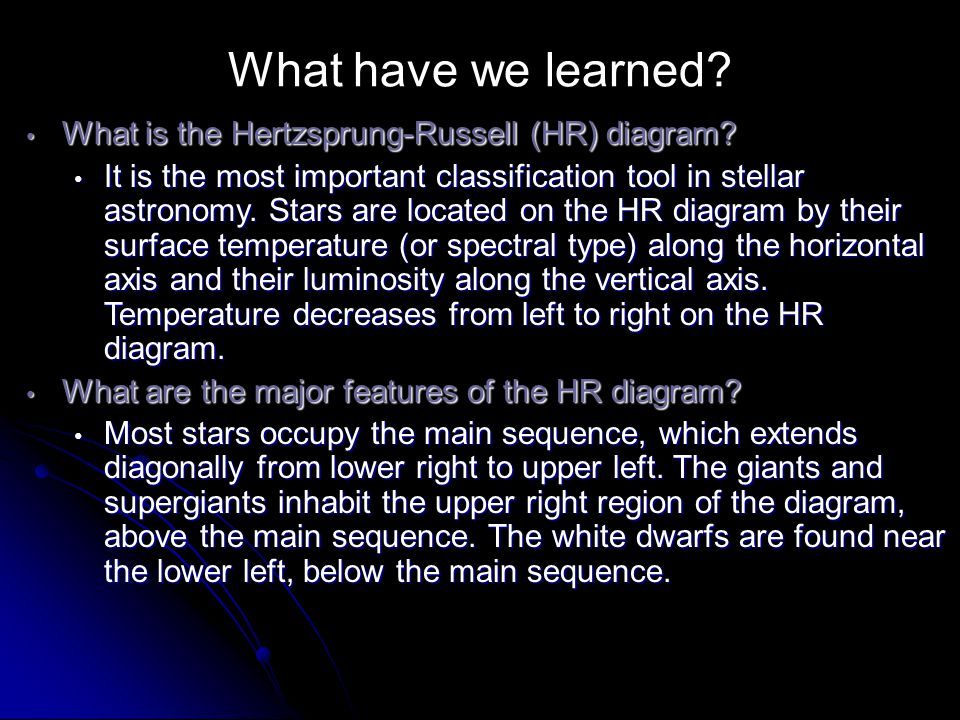 What have we learned What is the Hertzsprung-Russell (HR) diagram