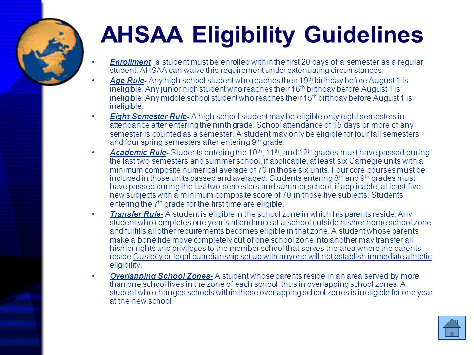 AHSAA Eligibility Guidelines