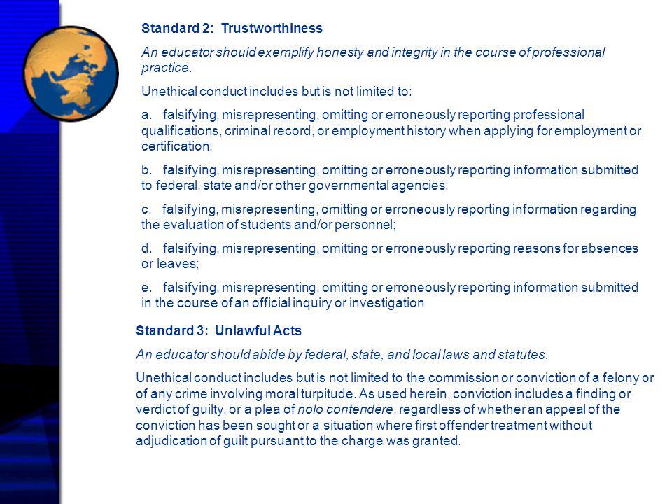 Standard 2: Trustworthiness