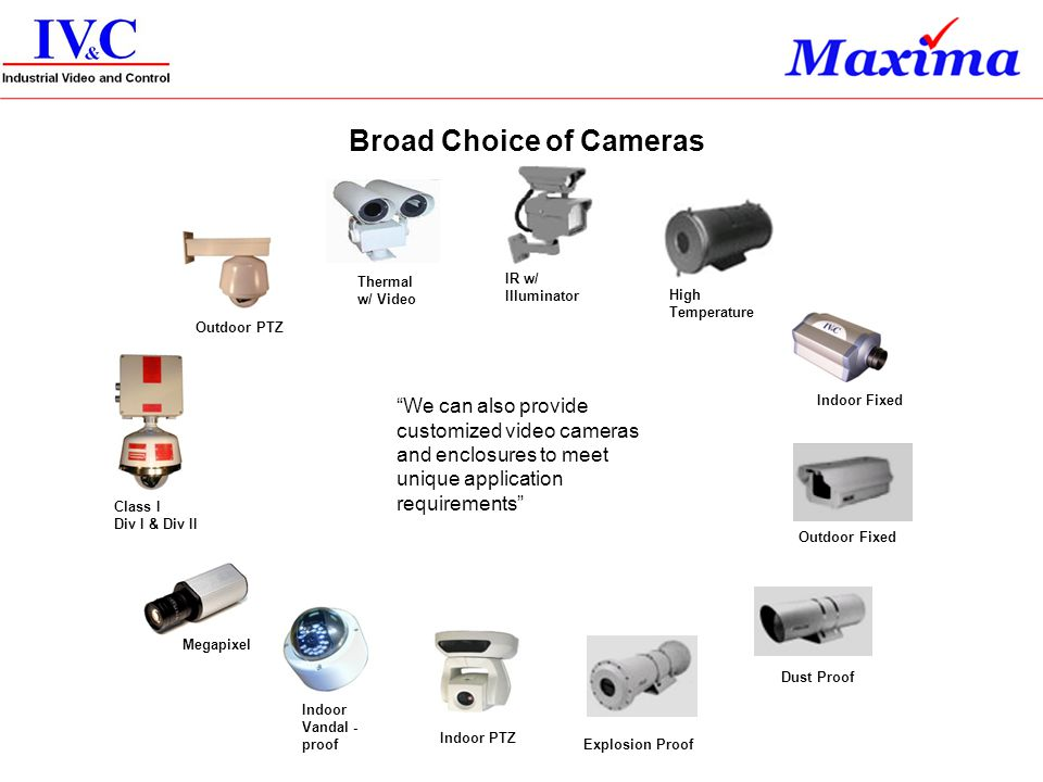 Broad Choice of Cameras
