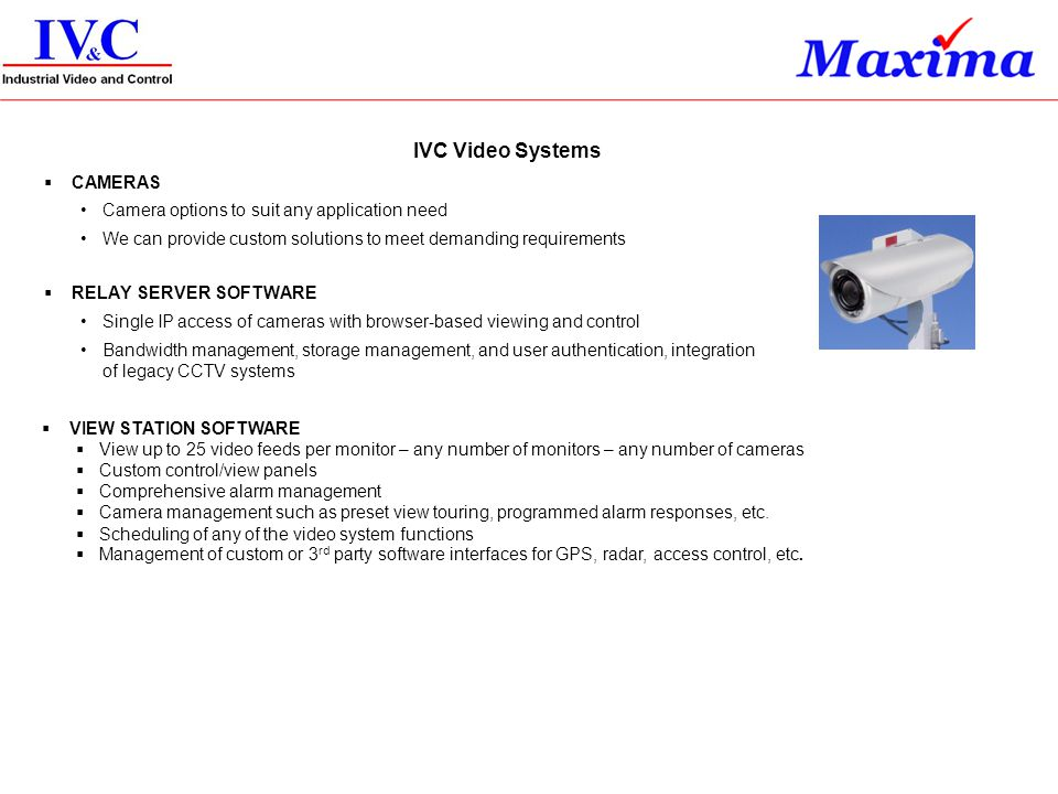 IVC Video Systems CAMERAS Camera options to suit any application need