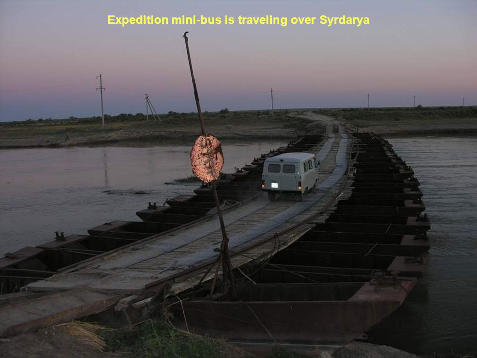 Expedition mini-bus is traveling over Syrdarya
