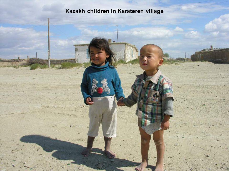Kazakh children in Karateren village