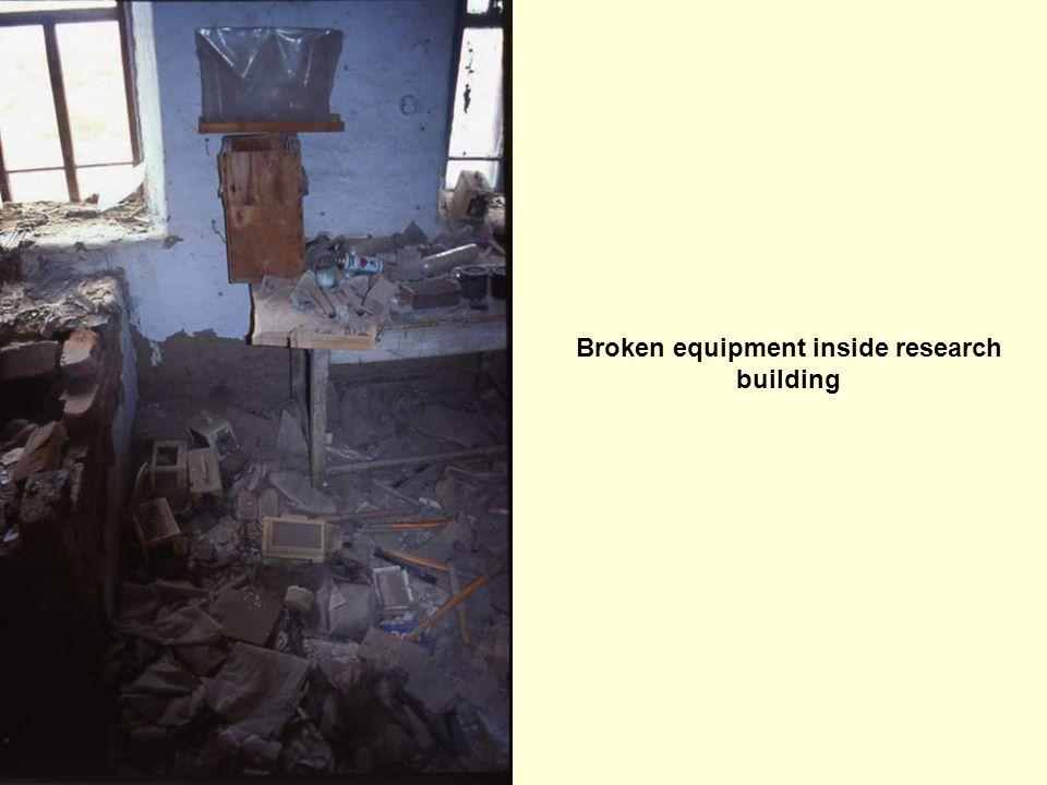 Broken equipment inside research building