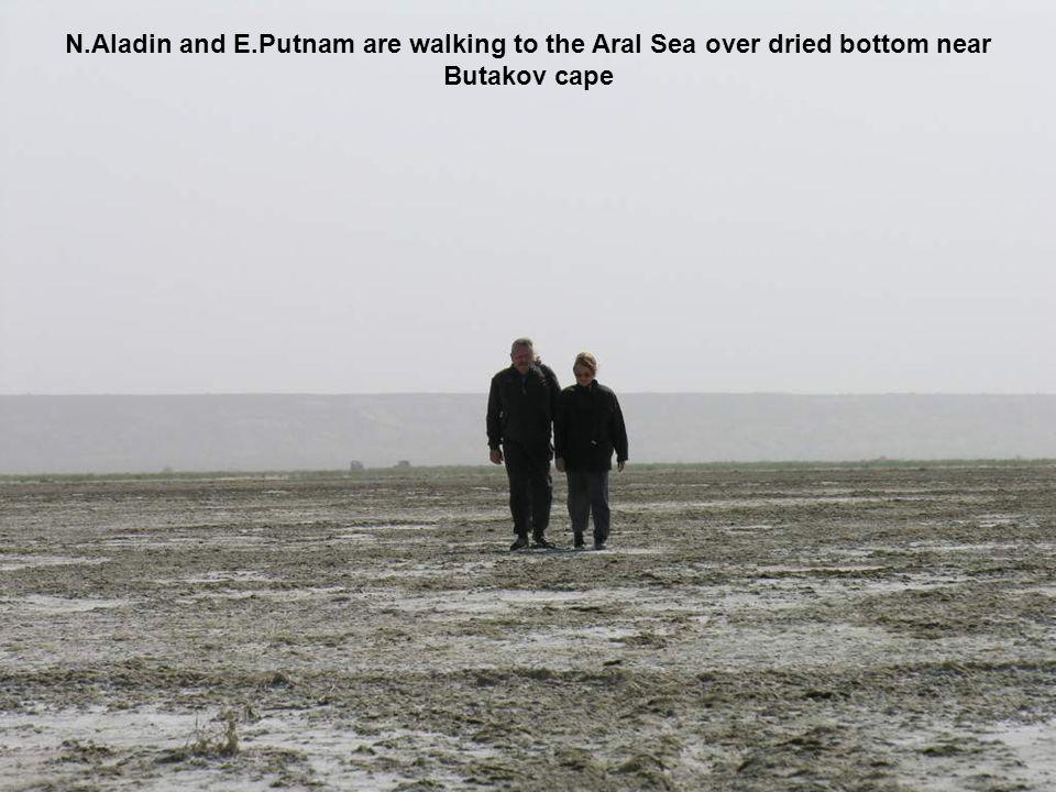 N.Aladin and E.Putnam are walking to the Aral Sea over dried bottom near Butakov cape